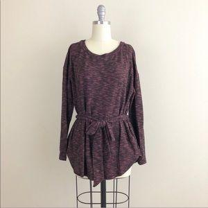 Sweaters - Marled Knit Tie Waist Sweater